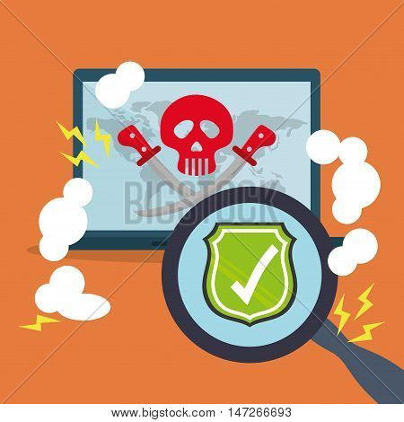 Laptop skull check mark shield and lupe icon. Cyber security system and media theme. Colorful design. Vector illustration