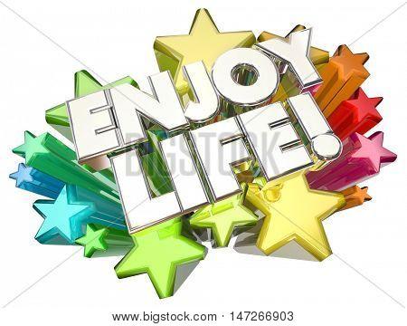 Enjoy Life Experience Adventure Happy Living Stars 3d Illustration