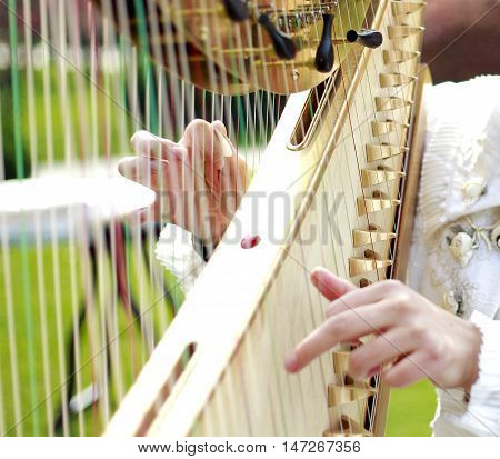 Young woman playing a harp in the park.