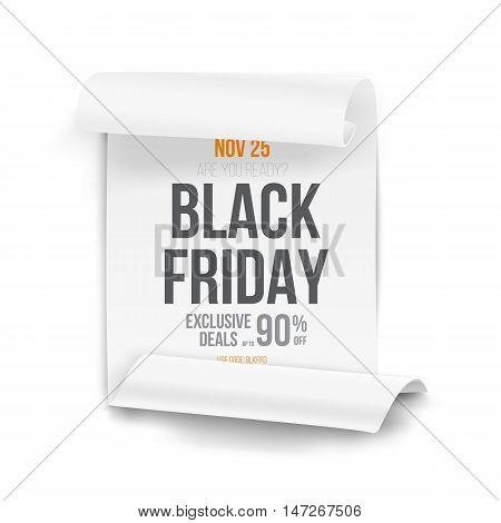 Illustration of Black Friday Sale Curved Ribbon Banner Template. Realistic Folded Paper Scroll Big Sale Banner White Poster Isolated on White Background