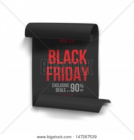 Illustration of Realistic Black Friday Sale Curved Ribbon Banner Template. Folded Paper Scroll Big Sale Banner Black Poster Isolated on White Background