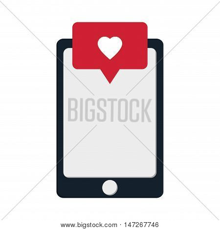 flat design modern cellphone and heart notification icon vector illustration
