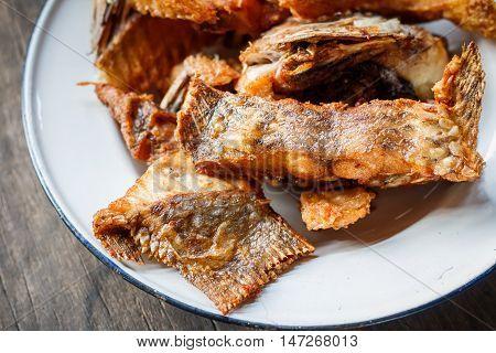 Deep Fried Tilapia Fish with salt, Top view.