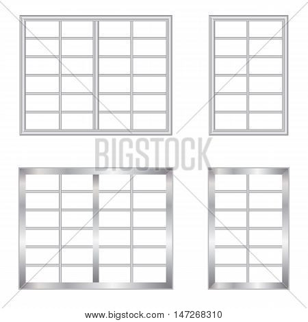Window and steel cage made of steel metal pattern design.