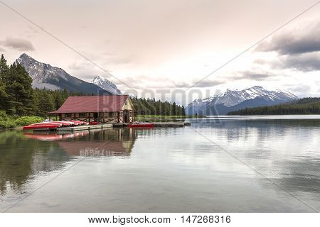 Boathouse On A Mountain Lake In Alberta, Canada
