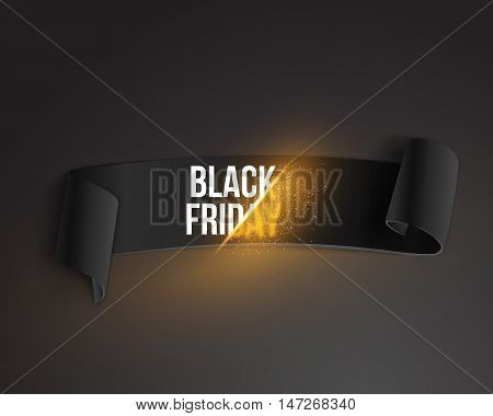 Illustration of Realistic Black Friday Sale Ribbon Banner Template. Folded Paper Ribbon Big Sale Banner with Explosion Effect