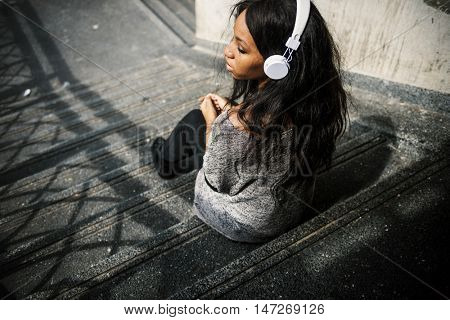 Listening African Descent Music Headphone Audio Concept