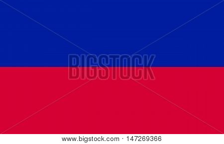 Flag of Haiti in correct size proportions and colors. Accurate official standard dimensions. Haitian national flag. Patriotic symbol banner element background. Vector illustration