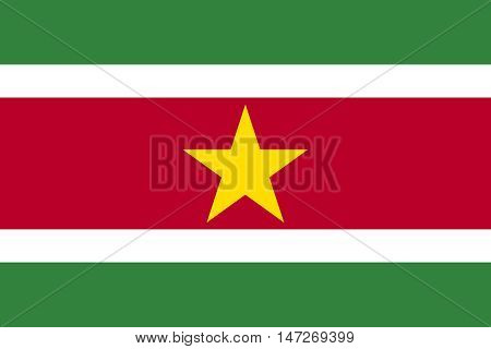 Flag of Suriname in correct size proportions and colors. Accurate official standard dimensions. Surinamese national flag. Patriotic symbol banner element background. Vector illustration