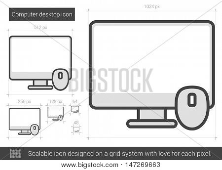 Computer desktop vector line icon isolated on white background. Computer desktop line icon for infographic, website or app. Scalable icon designed on a grid system.