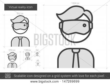 Virtual reality vector line icon isolated on white background. Virtual reality line icon for infographic, website or app. Scalable icon designed on a grid system.