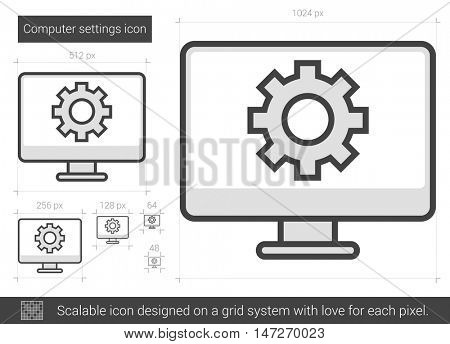 Computer settings vector line icon isolated on white background. Computer settings line icon for infographic, website or app. Scalable icon designed on a grid system.