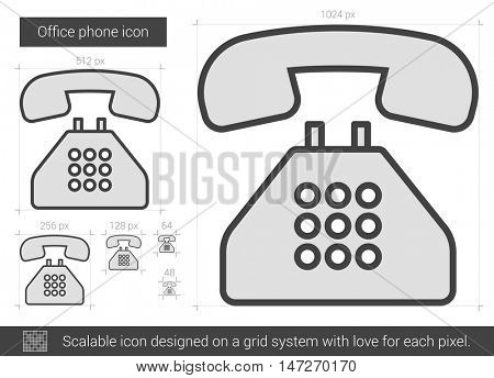 Office phone vector line icon isolated on white background. Office phone line icon for infographic, website or app. Scalable icon designed on a grid system.