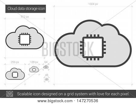Cloud data storage vector line icon isolated on white background. Cloud data storage line icon for infographic, website or app. Scalable icon designed on a grid system.