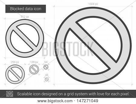 Blocked data vector line icon isolated on white background. Blocked data line icon for infographic, website or app. Scalable icon designed on a grid system.