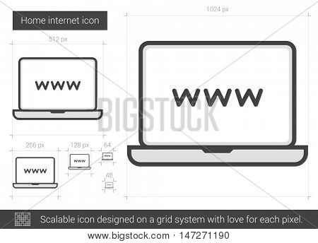 Home internet vector line icon isolated on white background. Home internet line icon for infographic, website or app. Scalable icon designed on a grid system.