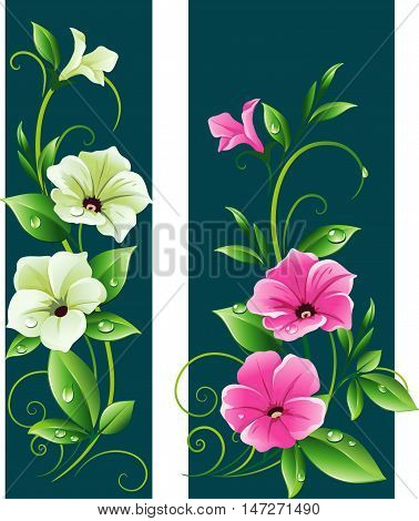Set of floral banners with white and pink petunia