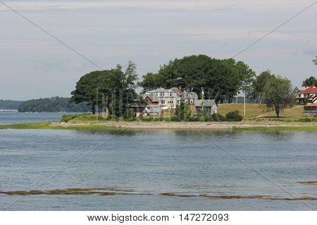 Residential properties on the outer islands in Casco Bay area near Portland, Maine