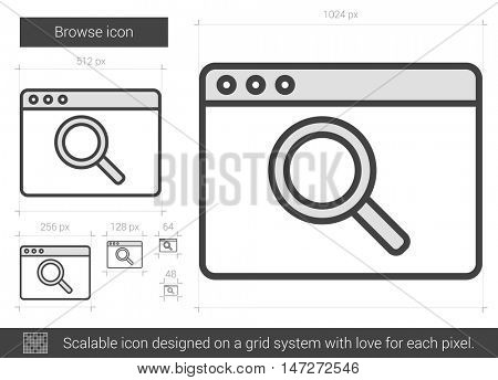 Browse vector line icon isolated on white background. Browse line icon for infographic, website or app. Scalable icon designed on a grid system.
