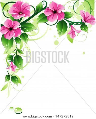 Ornamen with pink flowers. Decoraive corner with petunia