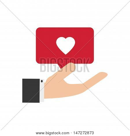 flat design hand holding heart notification icon vector illustration