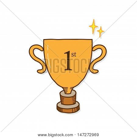 Champion Gold Trophy. A hand drawn vector doodle illustration of a first place winner trophy.