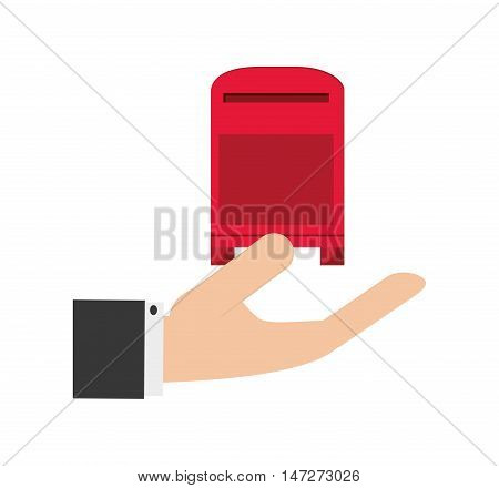 flat design  hand holding mailbox icon vector illustration