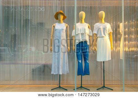 CHENGDU CHINA - MAY 8 2016: Boutique Fashion Mannequins In Fashion Shop Display in Chengdu on May 8 2016. Chengdu is one of the major economic cities in China.