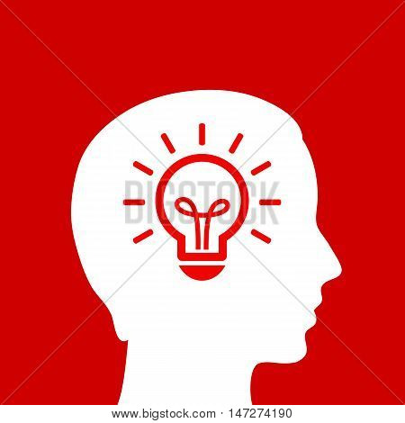 Head light idea icon vector illustration isolated on red background