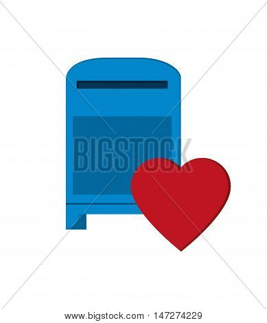 flat design mailbox and heart notification icon vector illustration