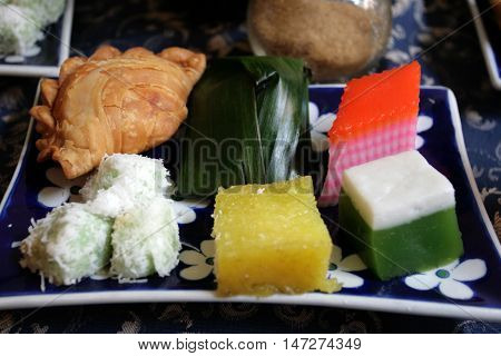 Stock image of assortment of Nyoya kuih