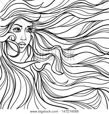 hand drawn ink doodle womans face and flowing hair on white background. design for adults, poster, print, t-shirt, invitation, banners, flyers. vector eps 8.
