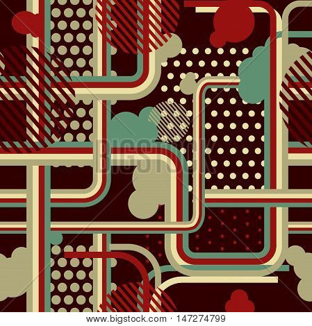 Seamless pattern vinage style with lines dots and cicrles.