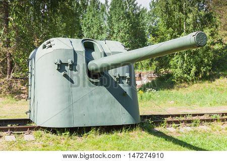 Cannon On Railway. Krasnaya Gorka Fort