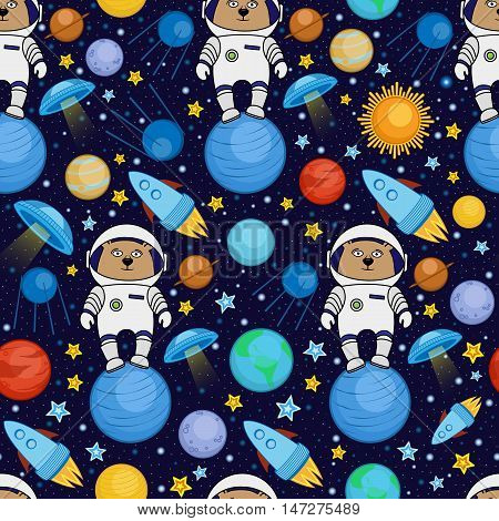 Colorful seamless cartoon space pattern with bear astronauts, rockets, planets, stars on starry night sky background, vector illustration. Cute and bright space travel seamless pattern