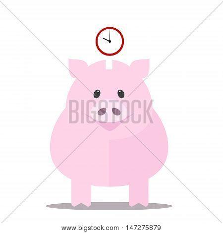 Piggy-bank saves time . Vector flat illustration