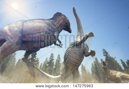 3D rendering of a pair of Tyrannosaurus Rex baiting an Alamosaurus to make a clumsy mistake.