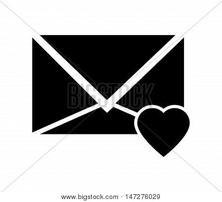flat design message envelope and heart notification icon vector illustration