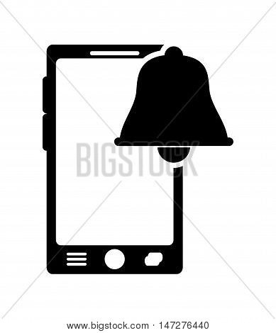 flat design modern cellphone and bell notification icon vector illustration