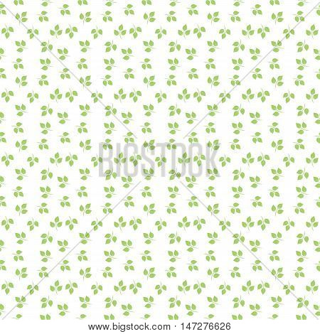 Green leaves pattern. White nd green background.