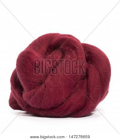Hank merino wool burgundy color on a white background
