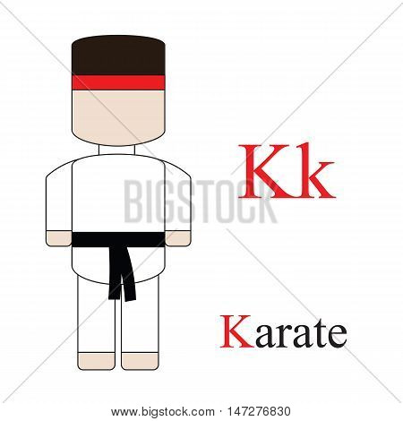 Letter K alphabet of professions. Karate. ABC education cards for kids.