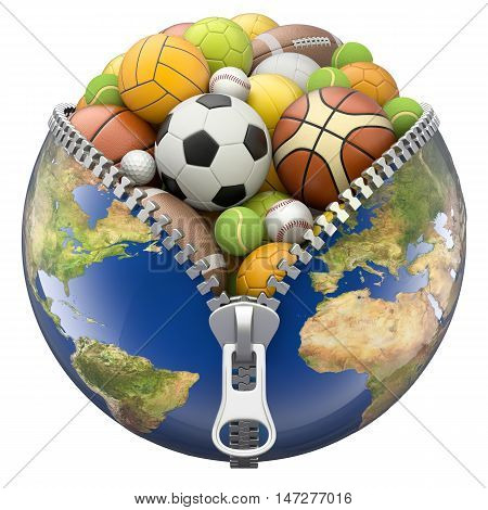 Earth globe with zipper full of sport balls isolated on white background - 3D illustration