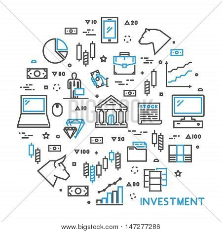 Round line concept for investment. Vector linear symbol for online investment. Open path.