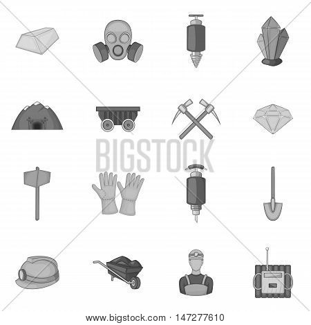 Mining icons set in black monochrome style. Quarrying industry set collection vector illustration