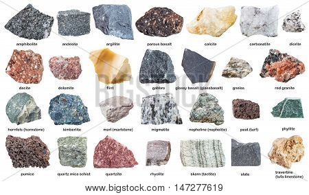 Various Raw Stones With Names Isolated On White