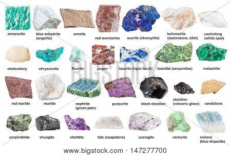 Collection From Gemstones And Minerals With Names
