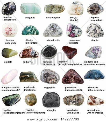 Various Tumbled Minerals With Names Isolated