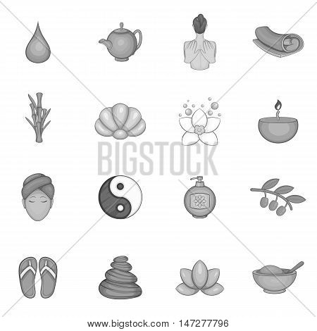 Spa icons set in black monochrome style. Beauty and care elements set collection vector illustration