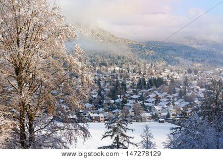 Winter landscape background. Ski resort Garmisch Partenkirchen Germany.